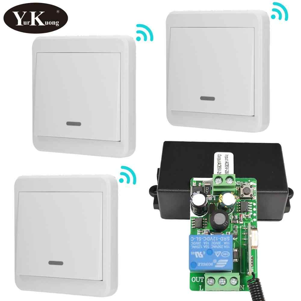 433 MHZ RF Remote Control Switch AC 110 V 220 V 240 V 85 V-260 V Lampu LED Wireless Switches Koridor Kamar Dinding Panel Switch