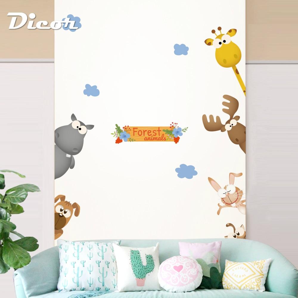 4 Kinds Cute Animals Wall Stickers For Kids Rooms Nursery Children Bedroom Door Wall Decals Turtles Giraffe Home Decor 2019 New