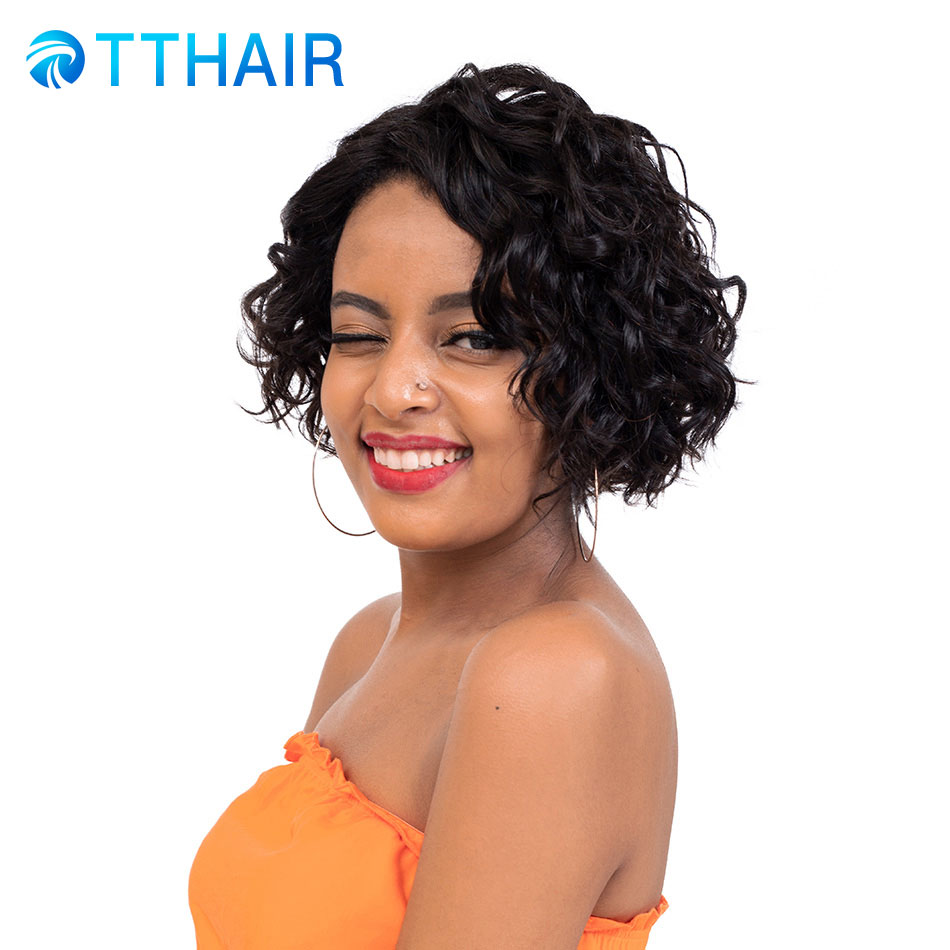 TTHAIR Short Human Hair Wigs Part Lace For Women Brazilian Remy Natural Color Human Hair Wigs