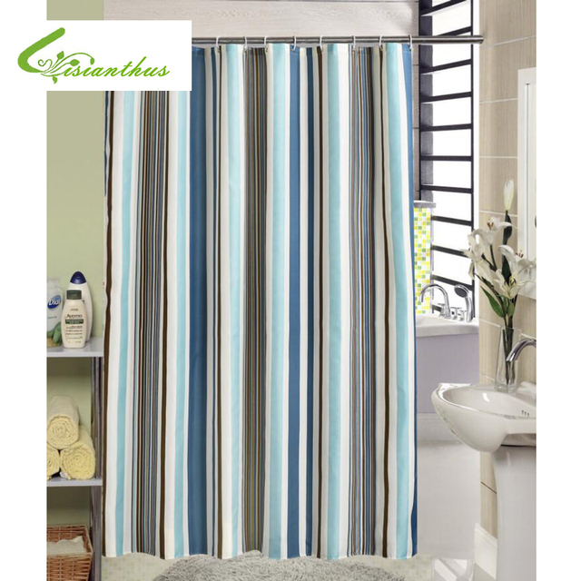 Polyester Fabric Shower Curtain With Hooks Treated To Resist Deterioration By Mildew Colorful Striped Design Bathroom Decor