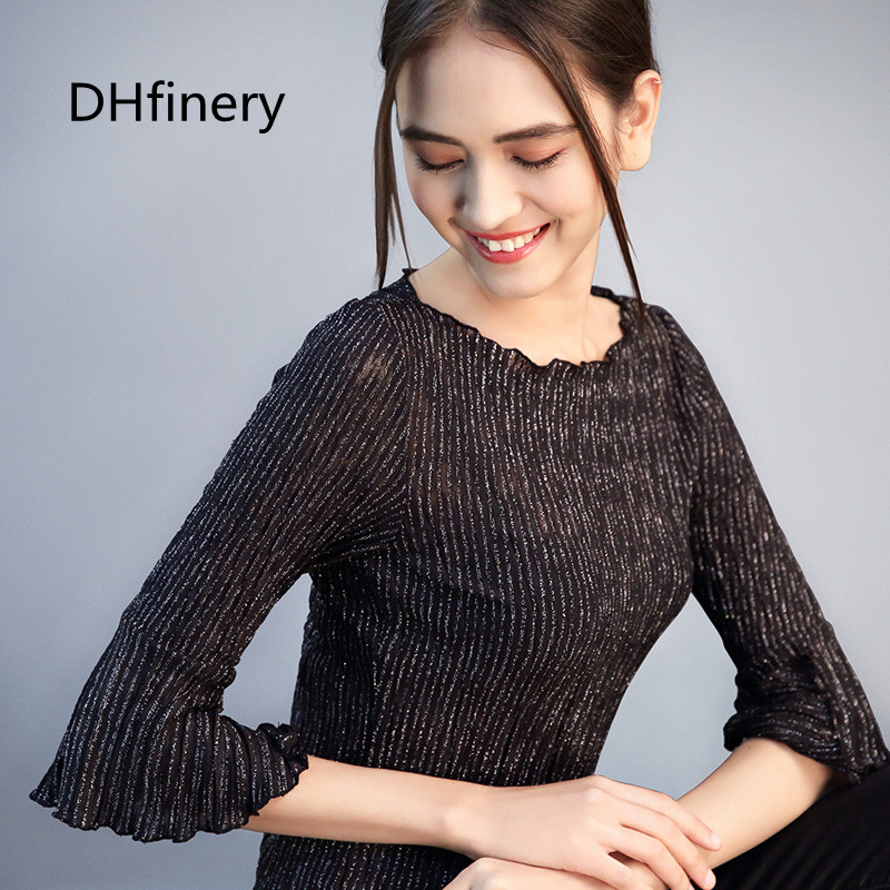 DHfinery Flare Sleeve Tops Women Spring Slash Neck Fringe