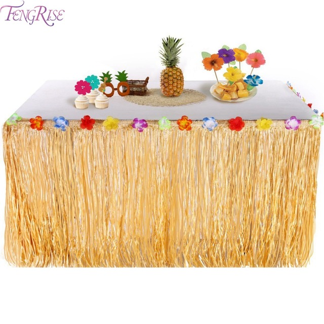 FENGRISE Tropical Party Artificial Grass Table Skirt Hawaiian Summer Luau Party Decoration Wedding Birthday Party Table Decor