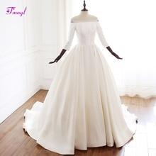 fsuzwel A-Line Wedding Dress 2019 Three Quarter Sleeves