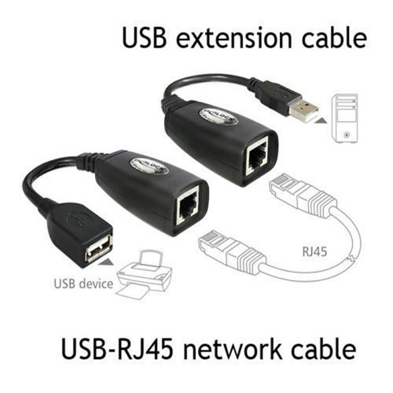 USB Extension Ethernet RJ45 Cat5e//6 Cable LAN Adapter Extender Over Repeater Kit