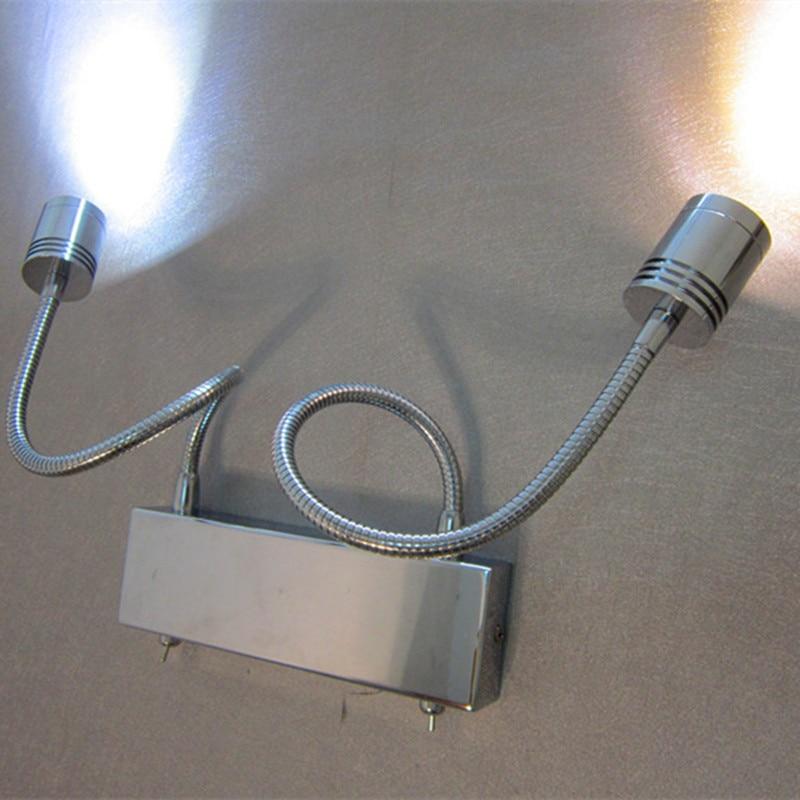 Topoch LED Light Flexibilní nástěnná lampa Gooseneck 2X3W CREE LED pracující nezávisle Barevně Volitelně Připojte 1x Kabel ze zdi