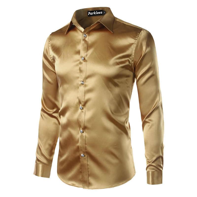 Новинка, Золотая шелковая атласная рубашка для мужчин, Chemise Homme, 2017, модная мужская приталенная рубашка с длинным рукавом, имитация шелковой пуговицы, красная рубашка