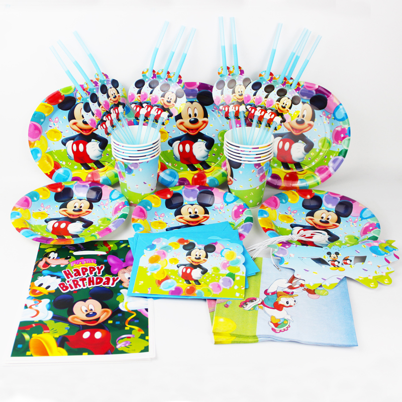92pcs <font><b>Mickey</b></font> <font><b>Mouse</b></font> kids happy <font><b>birthday</b></font> party decoration plate <font><b>cup</b></font> straw napkins loot bags for 12 people party supplie