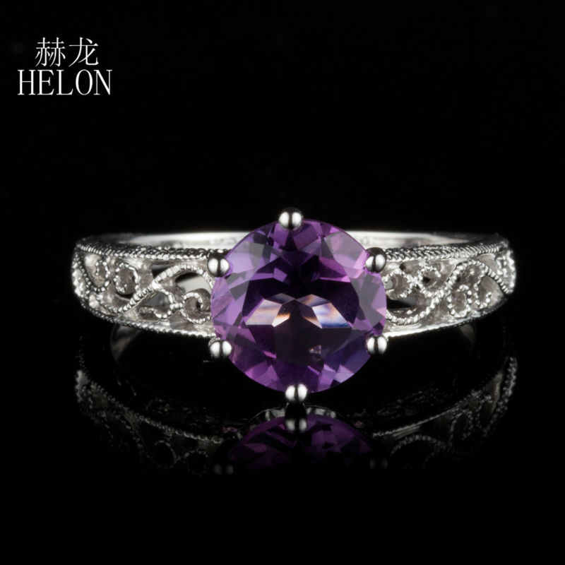 HELON Art Deco Vintage 925 Sterling Silver 7.5mm Round 1.5ct Natural Amethyst Engagement Wedding Art Deco Jewelry Ring wholesale