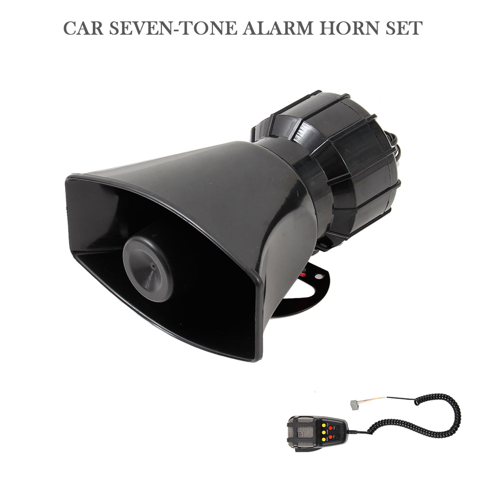 DC 12V 100W Motorcycle Car Auto Vehicle Truck 7 Sound Tone Loud Horn Siren Police Firemen Ambulance Warning Alarm Loudspeaker
