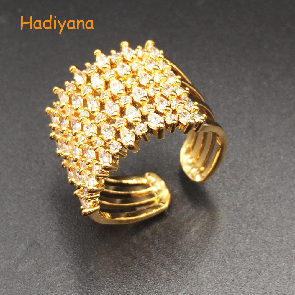 HADIYANA Brand Cubic Zirconia Classic Fancy Finger Ring Propose Sparkling Ring for Lady Perfect To Go To Prom Dinner Party CP391