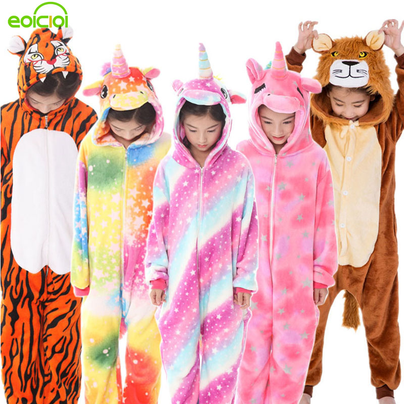 32 New Kigurumi Kids Animal Pajamas Set Boys Girls Unicorn Tiger Pegasus Winter Hooded Children Sleepwear Onesie Flannel Pyjamas