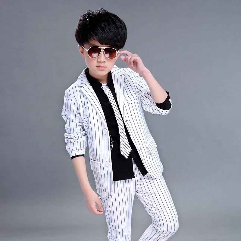 Formal Boys Clothes 2018 Spring New Style Kids Suits for Wedding Birthday Party Striped White Black Children Clothing Set boys clothes set boys striped vest pant shirt suits formal outfits kids school uniform children clothing wedding party clothes