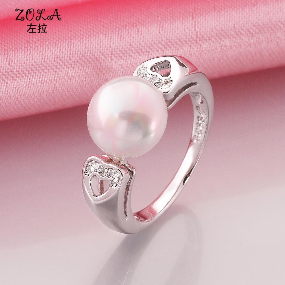 ZOLA Pearl Wedding Ring 925 Silver Plate Elements Austrian Crystal ...