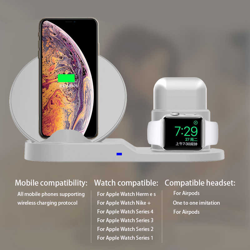 new style edf0a 1dda2 10W 3 IN 1 QI Wireless Charger For iPhone X Xr XS Max For Apple Watch For  AirPods Mobile Phone Fast Charge For Samsung S8 S9 S9+