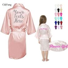 C & Phủ Nhanh Cá Tính Satin Kimono Áo Choàng Nữ Cưới Dự Tiệc Phù Dâu Cô Dâu Áo Choàng Tắm Trẻ Em Đầm Hoa Bé Gái Áo Choàng