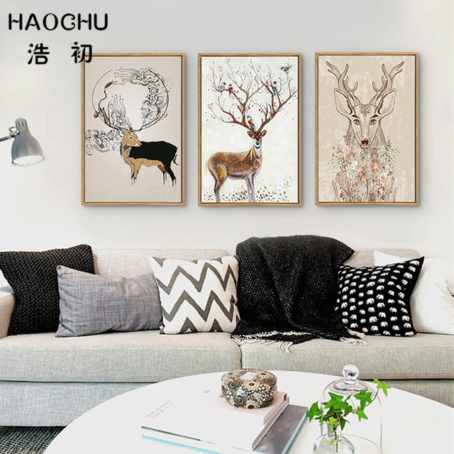 haochu nordic wald deer tier leinwand malerei schwarz wei. Black Bedroom Furniture Sets. Home Design Ideas