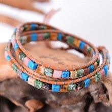 Новые женские кожаные браслеты High End Mix природные камни 2 Браслет из переплетенных нитей Винтаж браслет из бисера дружбы