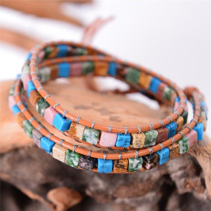 New Women Leather Bracelets High End Mix Natural Stones 2 Strands Wrap Bracelets Vintage Weaving Bead Bracelet Friendship