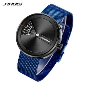 Image 2 - SINOBI Mens Fashion Uhren Original Design Kreative Armbanduhr Edelstahl Mesh Armband Herren Business Watch Relogio Masculino