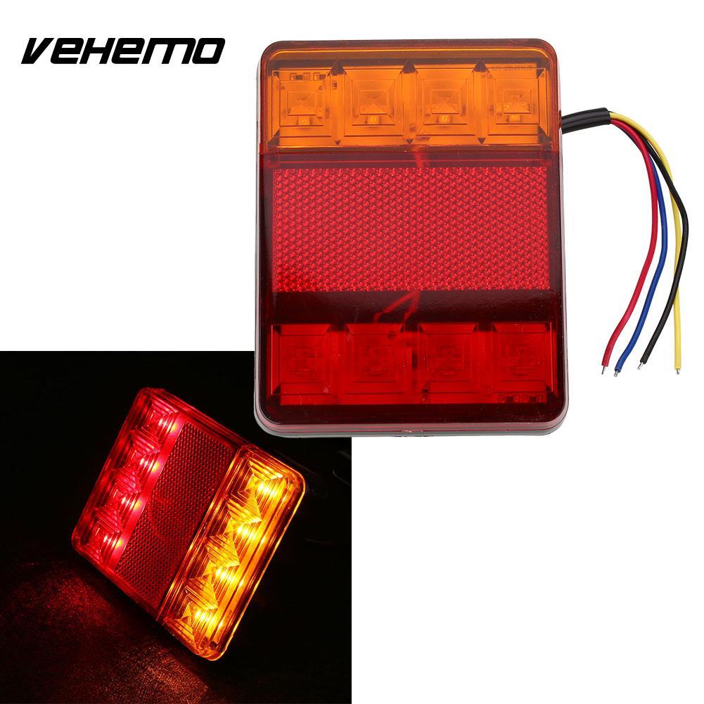 Vehemo 2шт Водонепроницаемый 8 LED красно желтый задний хвост предупреждение Лампа 12В для трейлера шлюпки автомобиля света автомобиля стайлинг