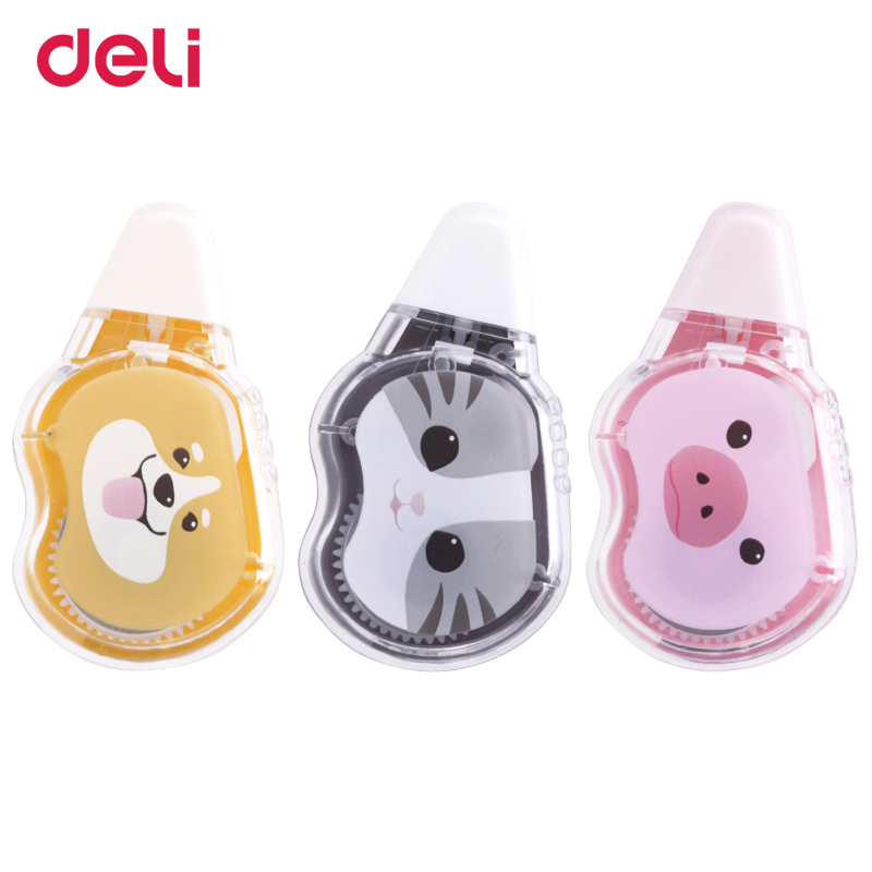 Deli 5mm*5m Correction Tape Cartoon Creative Stationery Cute Animal Pattern Student Correction Tape Stationery Wholesale 7231