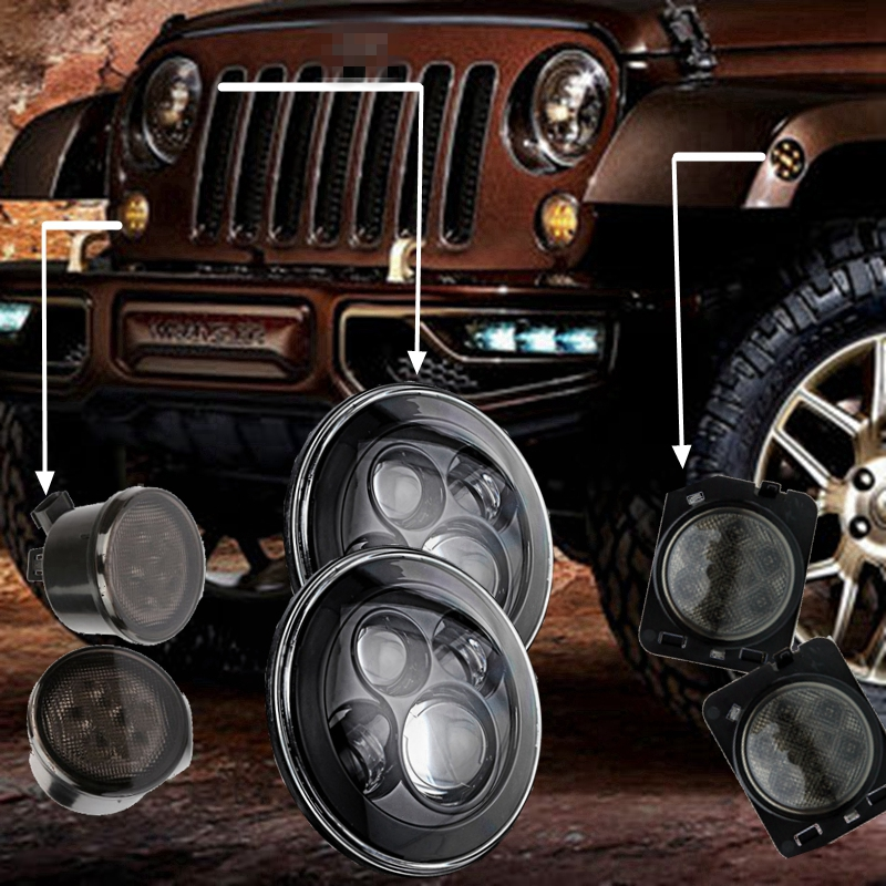 One pair 40W High Power  7 Round LED Headlights  with Fender Flares Indicator Turn Light for 07-15 JEEP Wrangler 1pair led side maker lights for jeeep wrangler amber front fender flares parking turn lamp bulb indicator lens