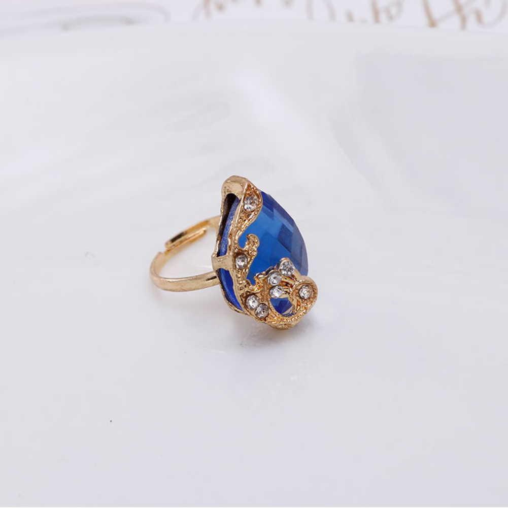 Zestaw biżuterii damskiej błyszczący kształt kropli wody Rhinestone naszyjnik kolczyki pierścień prezent paw kryształ koreańska biżuteria zestaw