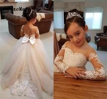 Mangas compridas Flor Meninas Vestidos Crianças Vestido de Festa de Casamento Com Rendas Apliques Pageant Girl Vestido de Crianças Vestido De Comunhão