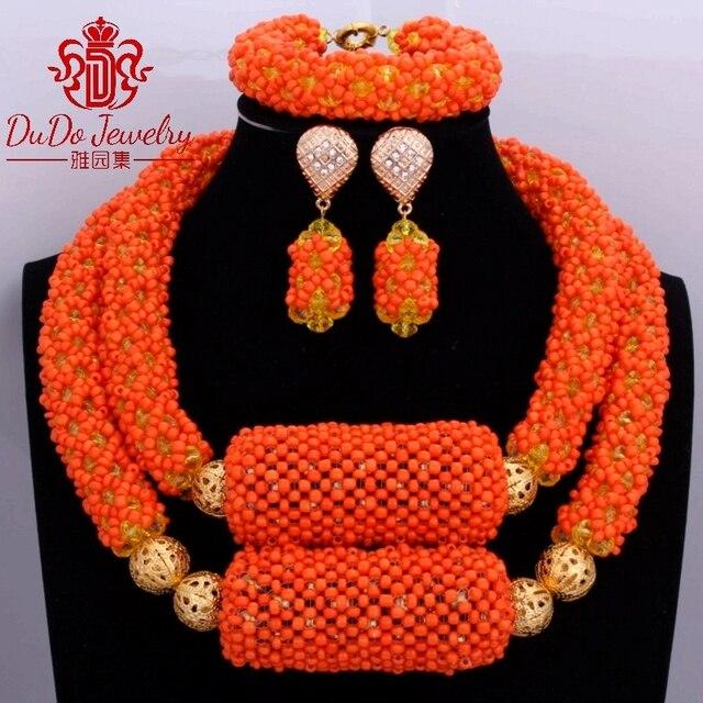 Dubai African Beads Jewelry Set Orange & Gold Yellow 2017 Nigerian Wedding Bridal Necklace Jewelry Set of Beads For Women Newest