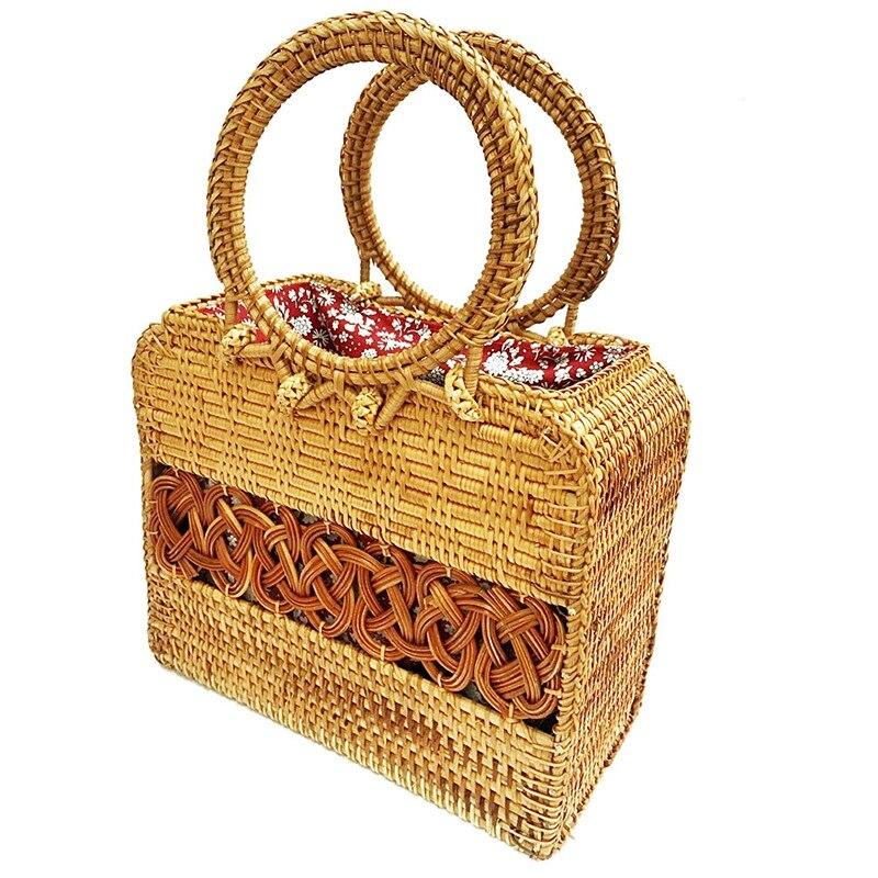Diseño de caja con mango de cuentas para mujer, bolso de