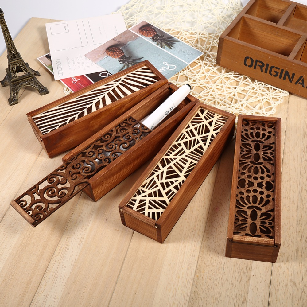 Wooden Hollow Wood Pencil Case Storage Box Brown Pencil Case Boxes School Student Multifunction Stationery Storage Organiser