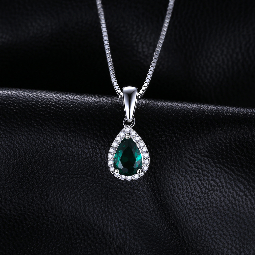 JewelryPalace 0.7ct Water Drop Creado Colgantes de esmeralda Genuino - Joyas - foto 2