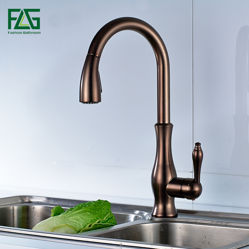 US $78.99 45% OFF|FLG Black Oil Rubbed Bronze kitchen faucet, 360 rotating  Antique blackened red stone sink tap, cold and hot kitchen mixer tap-in ...