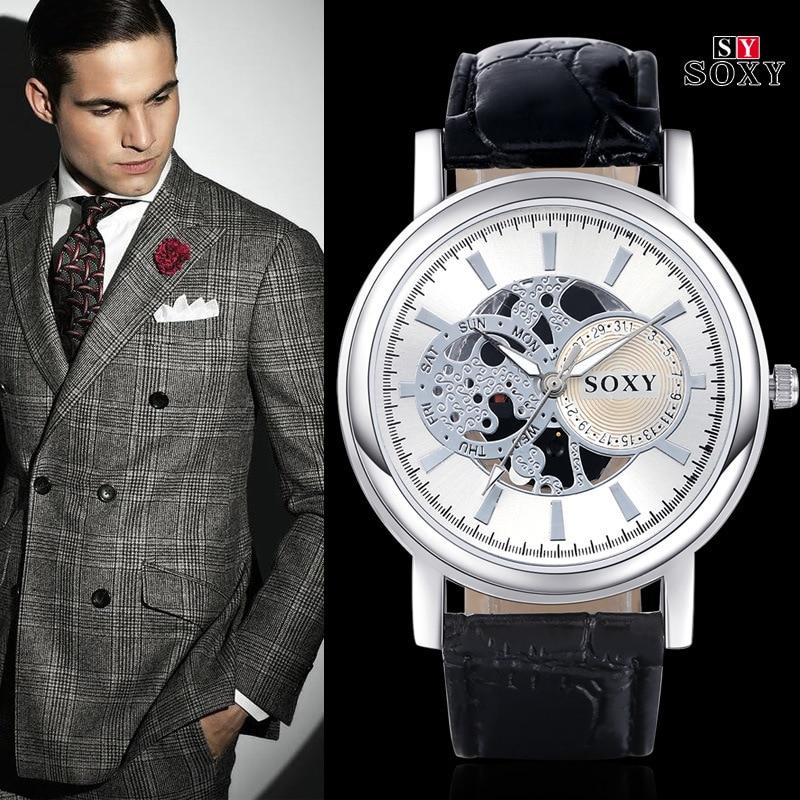 Skelet horloge 2018 mode heren vrije tijd quartz horloge luxe merk - Herenhorloges