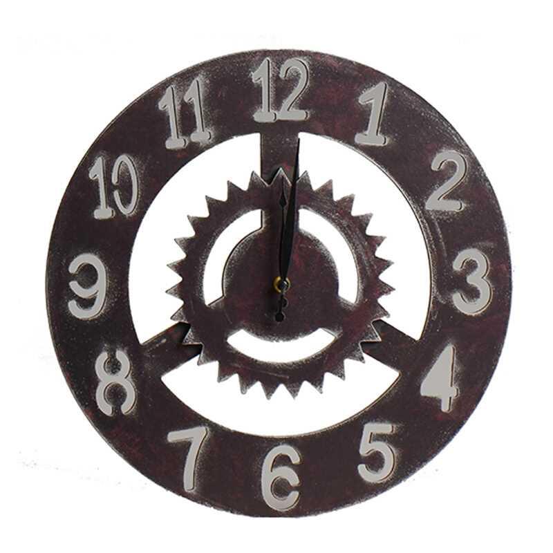 Creative rétro engrenage horloge ornement Bar boutique décor Sticker mural suspendus horloges numériques Vintage scie lame engrenage décorations cadeaux