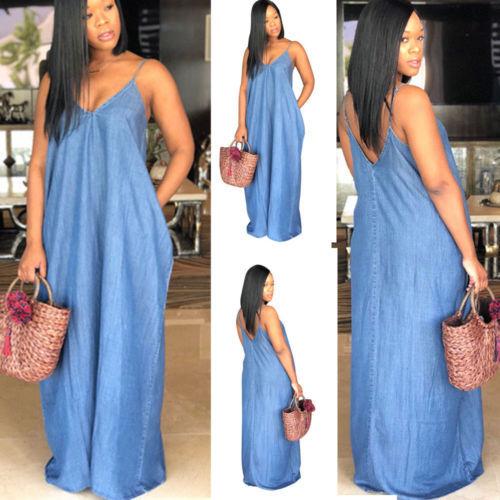 2019 Fashion Women Lady Boho Backless Summer Long Denim Maxi Dress Women Jean Dresses Loose Strapless Vestidos Plus Size S-XXXL 3