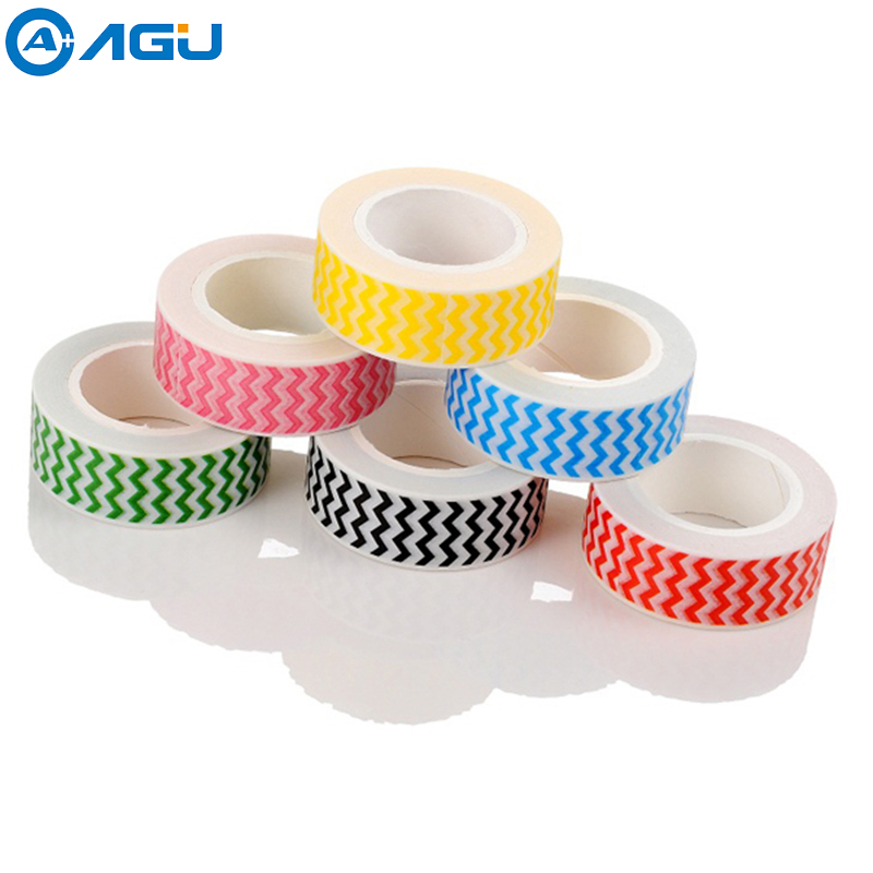 AAGU 1PC15mm*10m Iridescence Strip Washi Tape Hand Tear No Residue Paper Tape Masking Tape With Various Patterns Selection