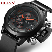 OLEVS Heavy Sports Men Silicone Watches Top Brand Chronograph Male Clock Wristwatch Business Quartz Watch relogio