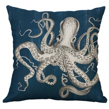 Marine Life Coral Sea Turtle Seahorse Whale Octopus Cushion Cover Pillow Cover Polyester Case Sofa Bed Decorative Hot 50x50cm