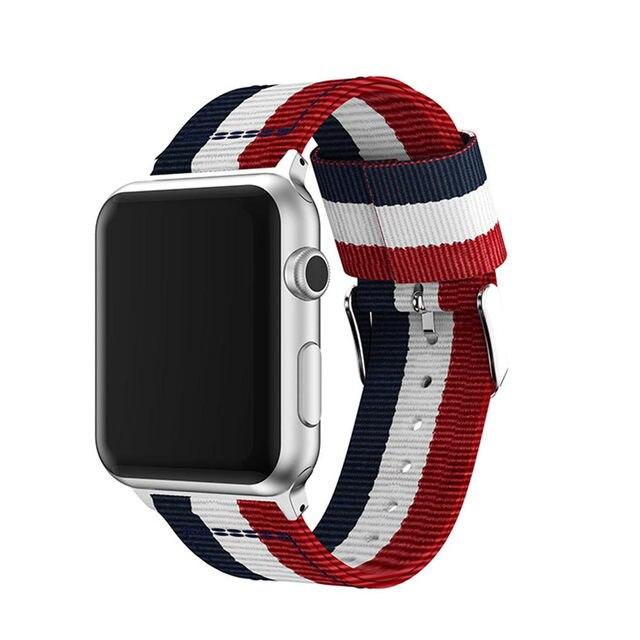 Bracelet de mode pour apple watch série 5 4 3 2 1 bracelet en nylon pour iwatch styles classiques couleurs motif avec adaptateurs 38 42mm