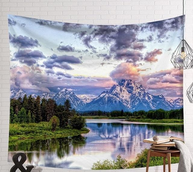 CAMMITEVER Beautiful Mountain River Scenery Tapestry Wall Hanging Art Wall Blanket Home Decor Bohemia Mandala Floral Carpet