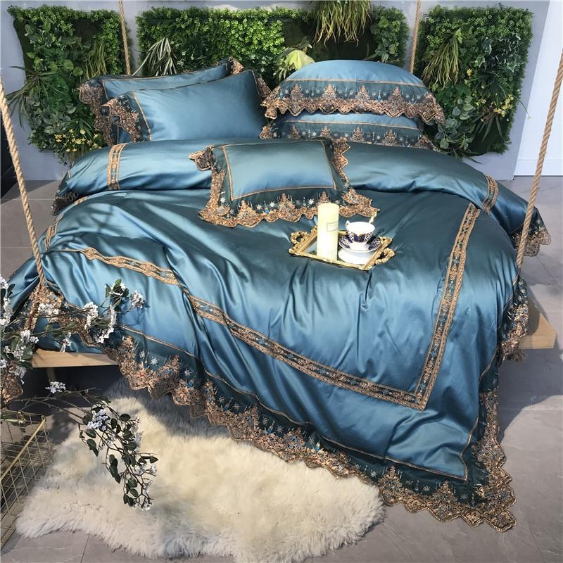 4/5 piezas azul lujo romántico encaje bordado 100 S algodón egipcio corte ropa de cama conjunto edredón cubierta cama sábanas ropa de cama fundas de almohada-in Juegos de ropa de cama from Hogar y Mascotas    1