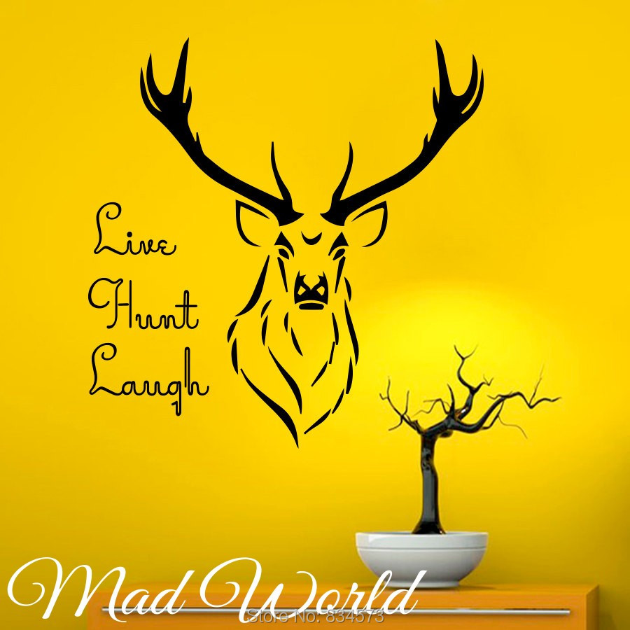 Mad World Deer Live Hunt Laugh Hunting Wall Art Stickers Decal Home ...