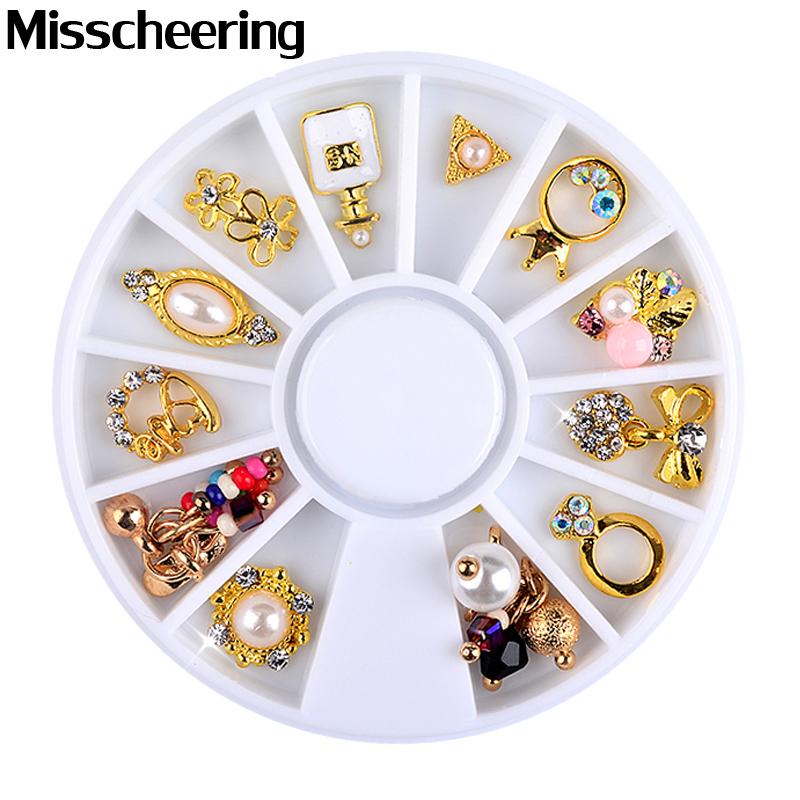 Ny 3d Charm Alloy Nail Art Rhinestone Decoration Wheel DIY Skønhed Nail Smykker Supplies