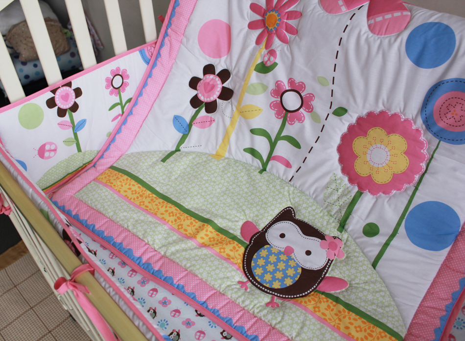 Promotion! 7PCS embroidery Cot Baby Bedding Set Newborn Crib Bedding Cartoon Cotton ,include(bumper+duvet+bed cover+bed skirt) promotion 3pcs crib cot bedding newborn baby bedding set cartoon bumper duvet bed cover