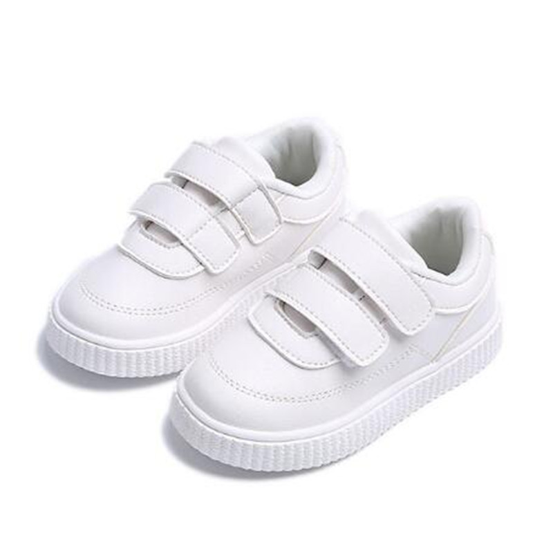 Kids Leather Causal Shoes Solid Color Breathable Comfort Boys Ankle Sneaker Rubber Bottom Soft Children School Shoes Girls