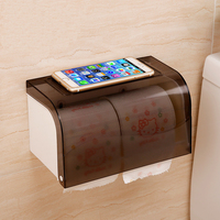 White Plastic Portable Toilet Paper Holders Strong Suction Cup Wall Holder Roll Papers Boxes Waterproof Bathroom Accessories