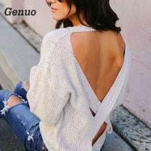 цена Genuo sexy backless women sweaters cross pullovers Woman Winter Jumpers Sweater Pullover Feminino Knitted Pullover tops онлайн в 2017 году