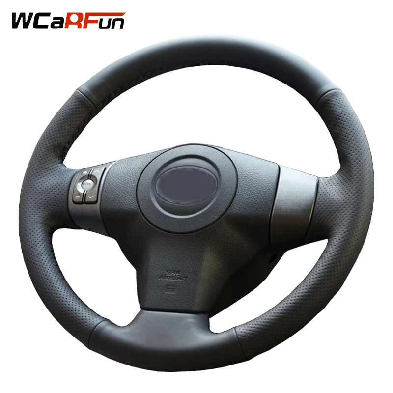 WCaRFun DIY Hand-Stitched Black Artificial Leather Car Steering Wheel Cover for Toyota Yaris Vios RAV4 2006-2009 Scion XB 2008