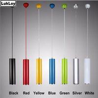 LukLoy 6cm Color Pendant Lamp Lights Kitchen Island Dining Living Room Shop Decoration Cylinder Pipe Pendant Kitchen Light